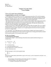 FIN 3100 Chapter 11 Lecture Notes