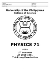 Physics 71 3rd LE AY1011 2nd Sem