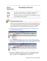 Excel Instruction - Text Entry in Excel 1 Rev1-1