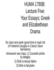 lecture five Theatre, essays