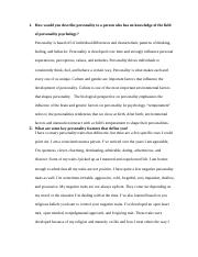 Personality and the Psychoanalytic Perspective Worksheet  Week 1 PSY 250