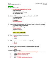 T175A Final Exam Revision part 1 of 2