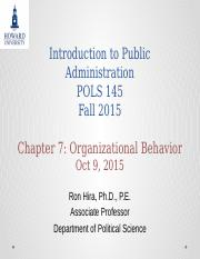 Introduction to Public Administration Lecture  Chapter 7 Organizational Behavior Fall 2015.pptx
