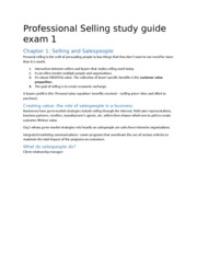 Professional Selling study guide exam 1