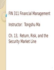 Ch13Return, Risk, and the Security Market Line