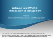 Week 1 Introduction to Organisations and Management (Sunway) - Updated