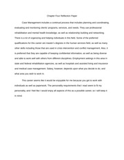 Chapter Four (Case Management) Reflection Paper