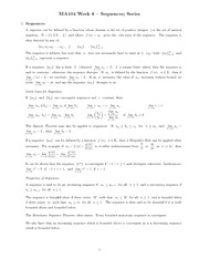 Chapter 7 : sequences; series class notes