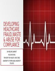 Developing Healthcare Finance Fraud