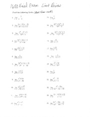 Limits worksheet