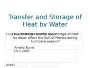 Transfer and Storage of Heat by Water