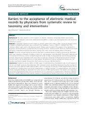 Barriers to the acceptance of electronic medical records by physicians from systematic review to tax