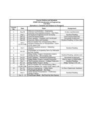 Engr 105 Course Outline and Assignments Fall 2013 Rev 2