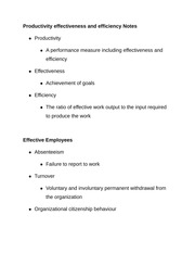 Productivity effectiveness and efficiency Notes