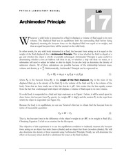 Lab #17 Archimedes' Principle