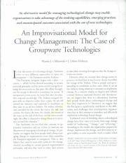 An Improvisational Model for Change Management(1)