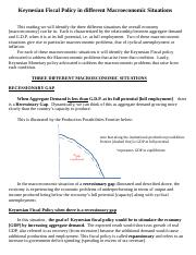 reading on Keynesian Fiscal and  Policy in different Macroeconomic Situations.docx