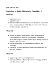 ChE 330 Fall 2015 Know for Exam I (Chapter 1-6)