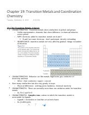 Chapter 19 Transition Metals and Coordination Chemistry