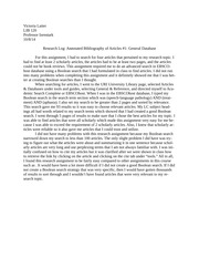 research log annotated bibliography of articles