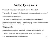 Radio Video Questions