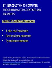 E7_Lecture5_F13 - Conditional Statements