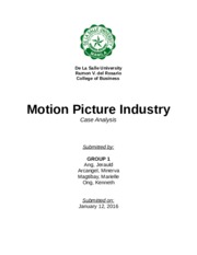 Case Analysis # 1 - Motion Picture Industry