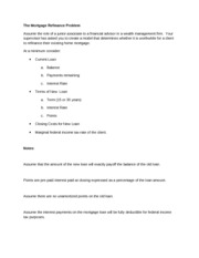 Mortgage Refinance Assignment