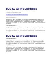 BUS 302 Week 5 Discussion
