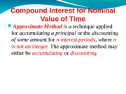 COMPOUND I. for Nominal Value of Time