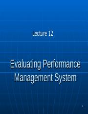 BUS20305 Lecture 12 Evaluating PM system