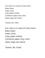 Our classroom is need of a few items.docx