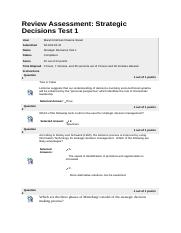 Strategic Decisions - Test 1