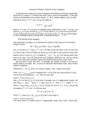 Lecture 6 Notes Kernel of an Isogeny