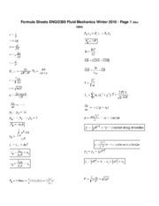 fluid mechanics formula sheet pdf
