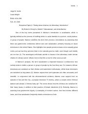 "Response Paper II — ""Eating Asian America 
