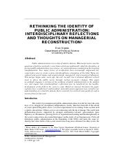 Rethinking the Identity of Public Administration- Interdisciplinary Reflections and Thoughts on Mana