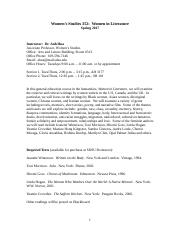 Women Studies 353 - Syllabus - SDSU
