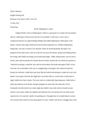 english 302 essay. woolf shakespeare's sister