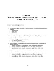 CHAPTER 13 BALANCE-OF-PAYMENTS ADJUSTMENTS UNDER  FIXED EXCHANGE RATES