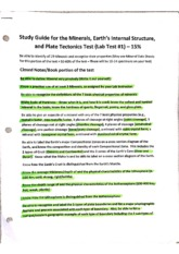 Minerals,Earth's Interal Structure, and Plate Tectonics Lab Study Guide and Test