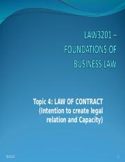 Lecture 4 Law of ContractIntention of the parties and capacity