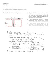 Physics 21 Exam1 Fall 2009