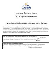 MLA Guidelines