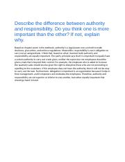 Chapter 7a DB Describe the difference between authority and responsibility.docx