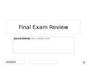 Final Exam Review journal entries