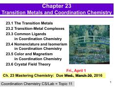 Chapter 23 - Coordination Chemistry