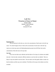 Lab Six Titration of Ions in Water