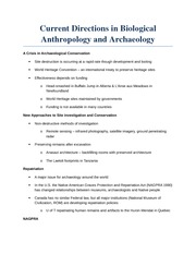 Lecture 13 - Current Direction in biological Anthropology and Archaeology