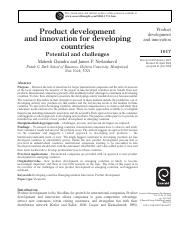 Product development and innovation for developing countries